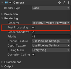 Camera properties. How to enable Post-processing v.2