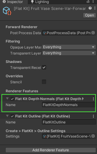 Flat Kit Depth Normals renderer feature