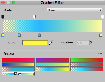 Fog Image Effect. Gradient Editor interface.