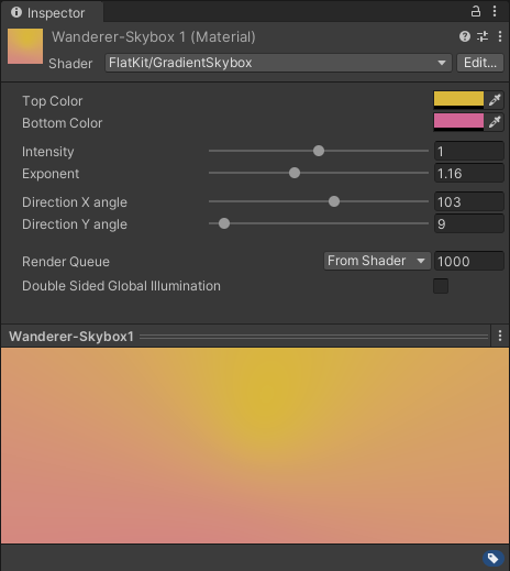 Gradient Skybox. Inspector panel interface