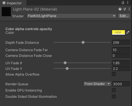 LightPlane Shader. Inspector panel interface