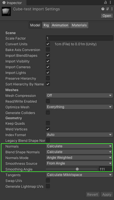 Import settings of the model