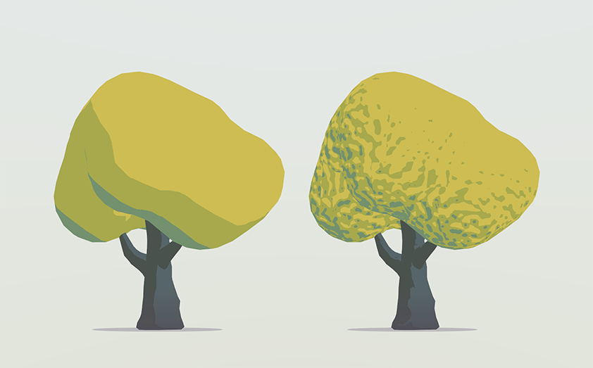'Normal Map Tree' demo scene, a tree without and with a normal map